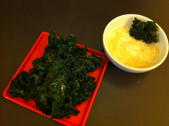 Crisped Kale with Yogurt Dipping Sauce