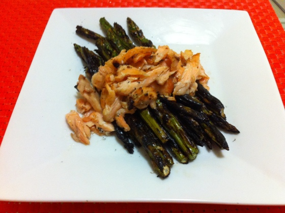 Flaked Grilled Salmon over Grilled Asparagus